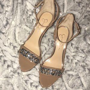 Jessica Simpson Nude Jeweled Heels